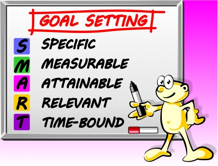 Words on the Whiteboard Smart goal setting concept Vector