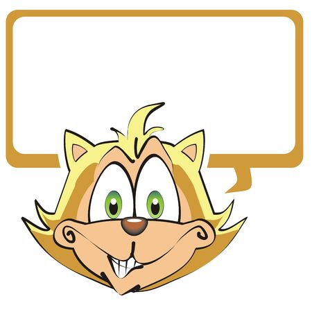 blanck: Illustration of a cat with a white text box to enter text you want.