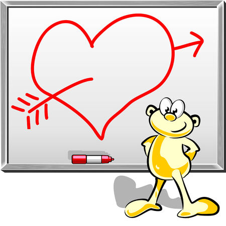 express feelings: Smitten heart drawn on a whiteboard with marker. Express your feelings adding your text within the heart. Illustration