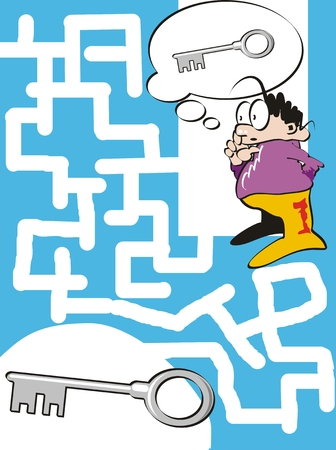 mister: Maze game for children. Help the mister to find the way to your key