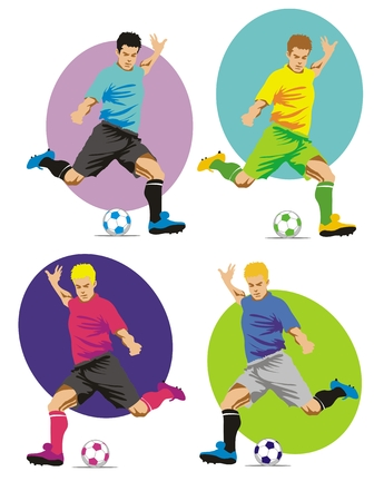 kick out: Soccer players running with the ball, ready to shoot at the goal Illustration