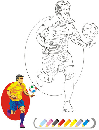 trooper: Soccer player running. A set of black and white coloring book sketches.