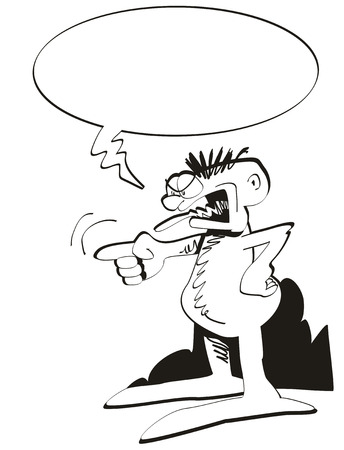 constipated: Angry man screaming. Black and white illustration with bubble speech to express emotions and messages.