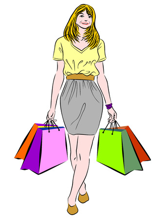 Vector illustration of a woman with shopping bags Vector