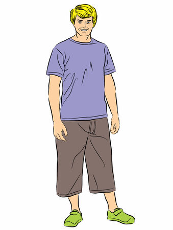 casual dress: Illustration vector full length portrait of young guy with casual dress