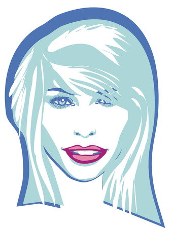 A beautiful woman smiling, straight hair. Vector illustration. Illustration