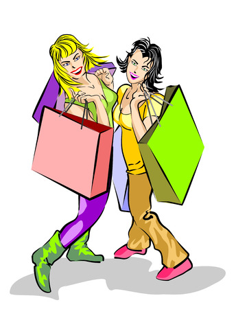 Two female friends shopping, smiling and happy. With their gift bags. Illustration