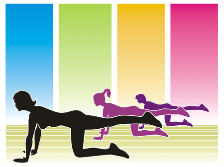 sit ups: Silhouettes of three women in the gym, with colorful backgrounds
