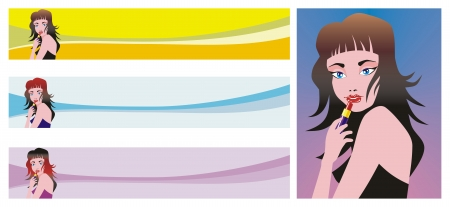 Three headers for use on websites related to the theme of women and makeup. Includes detailed image of a woman with lipstick.