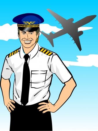 Piloto de línea con camisa y corbata con charreteras y sombrero. Imagen conceptual acerca de la industria de la aviación y la seguridad de los vuelos internacionales. La sonrisa de confianza capitanes es tranquilizador a los pasajeros