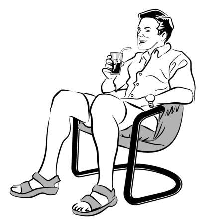 d�vorer: Illustration d'un homme en blanc et noir boire un soda