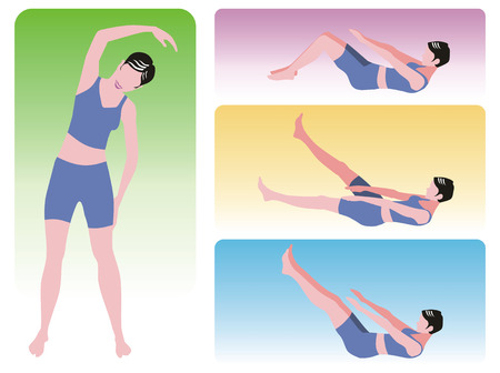 aerobics class: Series of four exercises for women at the gym