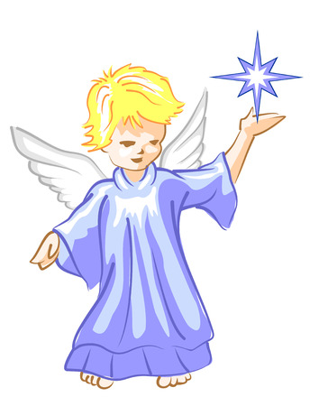 guardian angel: Guardian angel watching over our dreams. Illustration