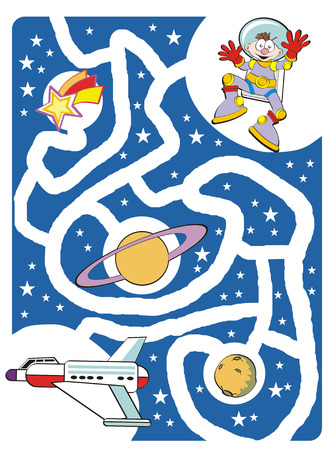 Maze game for kids: Help the brave astronaut to find your lost spaceship!
