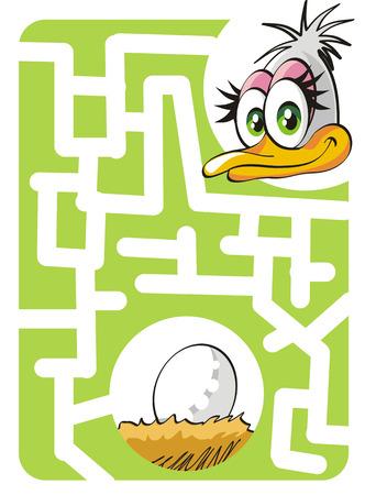 Maze spel för barn: Hjälp mamman struts för att hitta sitt bo och ägg!