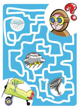 Juego de laberinto para niños: Ayuda al piloto valiente para encontrar su biplano perdido! Vectores