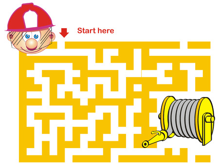 Maze Game: Firefighter and Hose Illustration