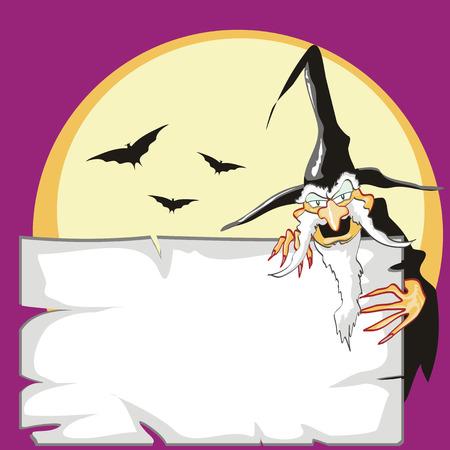 whiz: Warlock with a halloween postcard. Halloween party invitation
