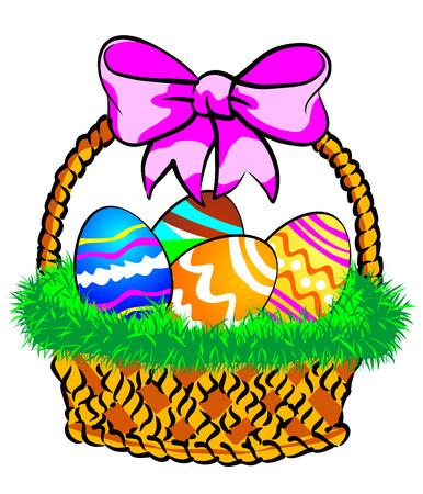 Illustration av en påskkorg med färgglada ägg dekorerade, på gräs.