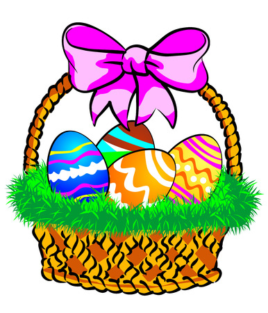 Illustration of a Easter basket with colorful eggs decorated, on grass. Illustration
