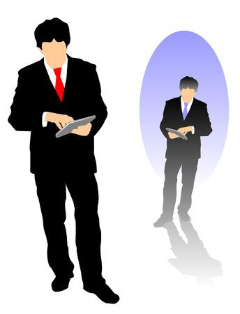 Dos versiones diferentes silueta de un hombre de negocios con su Tablet para el trabajo.