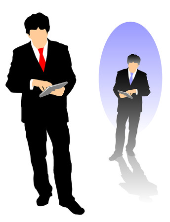 tablet: Two different silhouette versions of a business man using his Tablet for work.