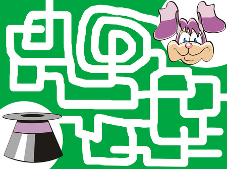 Maze game for kids: Help the bunny find his top-hat! Vector