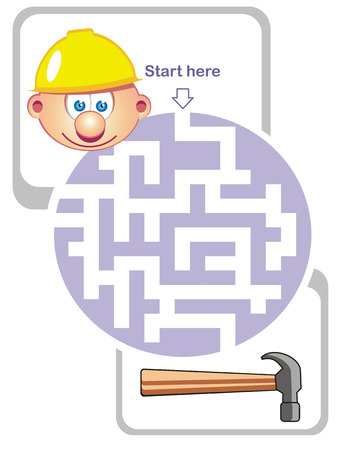 Maze game for kids: Help the builder find the way to the hammer! Vector