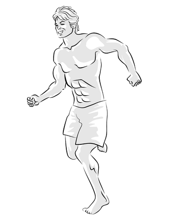Young man running and exercising. Black and white illustration. Stock Vector - 22894585