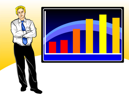 preoccupied: Businessman preoccupied for a result of sales graph.