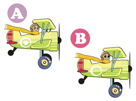 Game for childrens: Spot 7 differences between these two images.