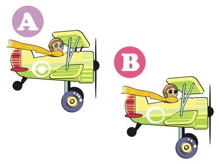 Juego para niños: Punto 7 diferencias entre las dos imágenes. Vectores