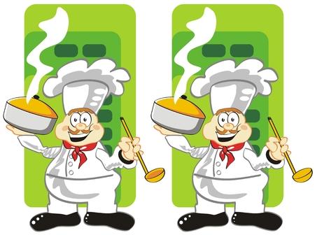 Juego para niños: descubrir las 7 diferencias entre estos dos cocineros. Vectores