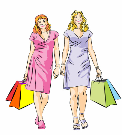 Vector illustration of two girls with shopping bags Vector