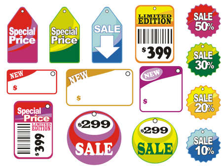 Different sale icons and labels Vector