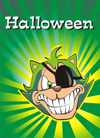 terrific: Halloween Postcard with a terrific green cat, very bad.