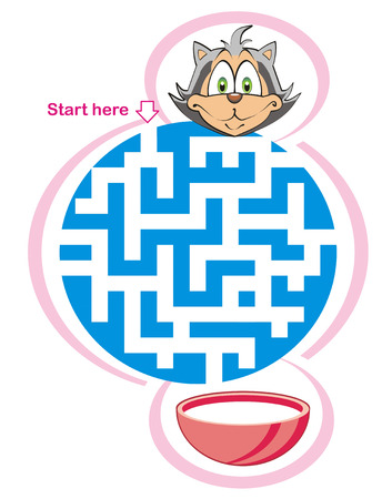 Maze game for kids: Help the cat find the way to the milk!