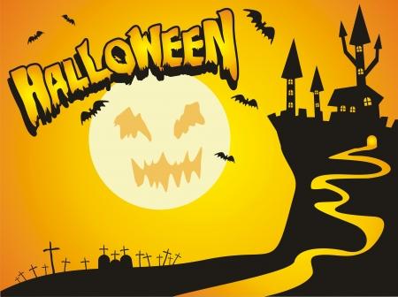 Un ejemplo espeluznante con casi todos los elementos de miedo para celebrar Halloween. El castillo, el cementerio, los vampiros y feliz halloween