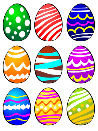 different ways: Set of nine Easter eggs painted and decorated in different ways. Easter Eggs isolated on white background. Illustration