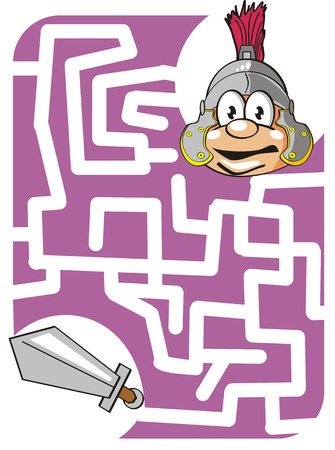 Maze game for kids: Help the brave Roman soldier to find his lost sword! Stock Vector - 22894627