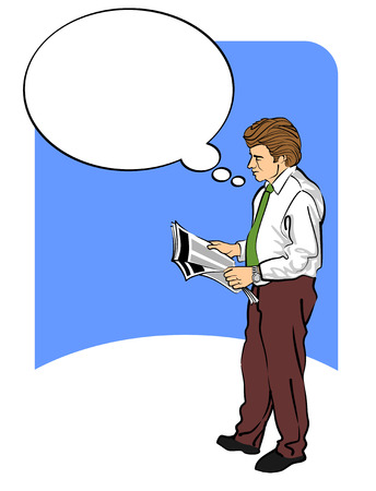 stockbroker: Image of a man reading the newspaper and thinking. With a bubble speech to write your text