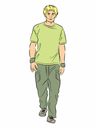 Young man in casual dress walking isolated on white. Illustration