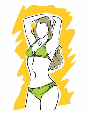 two piece bathing suit: Dibujo lineal de una chica en bikini verde