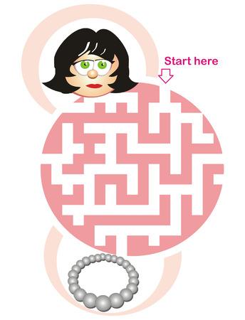 Labyrint spel för barn: hjälpa kvinnan att hitta vägen till halsband! Illustration