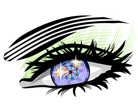 replacing: Electronic eye future of medical technology. Bionic eyes, replacing eyeballs. Illustration