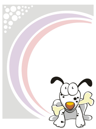 Greeting Card with a cute puppy eating a bone Vector