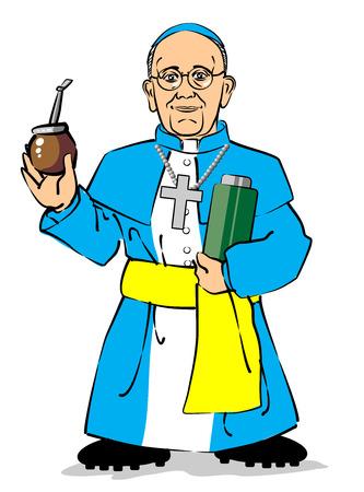 Cardenal Jorge Mario Bergoglio de Argentina será el nuevo Papa con el nombre de Papa Francis. Ciento quince cardenales encerrados en la Capilla Sixtina anunció al mundo el miércoles que un nuevo Papa había sido elegido al espeso humo blanco coul Vectores