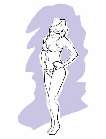two piece bathing suit: Linear sketch in black and white of a woman in bikini