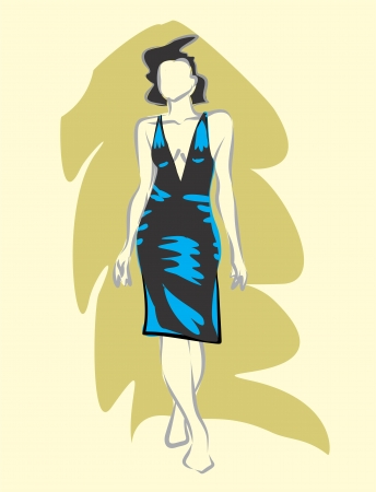 bask: Linear sketch of a woman in evening dress. Illustration