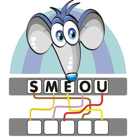 Un juego divertido y didáctico para los niños: Encontrar la palabra correcta siguiendo las líneas y la adición de las letras en las casillas en blanco!